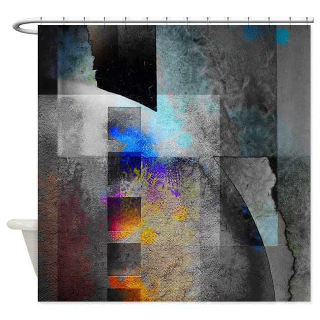 Industrial Grunge With Gray Blue Shower Curtain By Artonwear