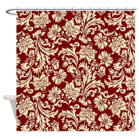 cream bathroom d cor cream and scarlet red damask shower curtain