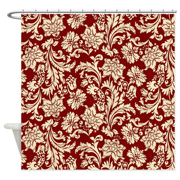 Turquoise Cream White Damask Flower Floral Fabric Shower Curtains ...