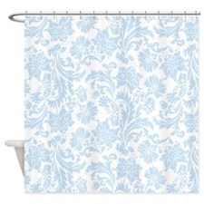 Sky Blue and White Damask Shower Curtain