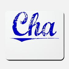 Cha, Blue, Aged Mousepad