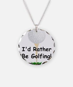 golfball large Id rather be golfing.png Necklace