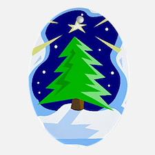 Winter Christmas Tree & Star (Oval Ornament)