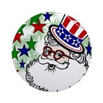 Patriotic Santa Christmas Ornament (Round)