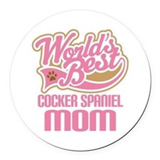 Cocker Spaniel Mom Round Car Magnet