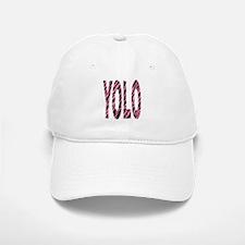 YOLO pink zebra stripes Baseball Baseball Cap