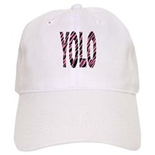 YOLO pink zebra stripes Baseball Cap