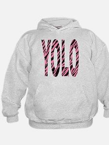 YOLO pink zebra stripes Hoodie