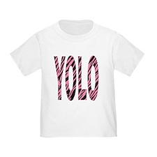 YOLO pink zebra stripes T