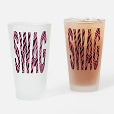 SWAG pink zebra stripes Drinking Glass