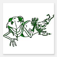"Zombe Frog Square Car Magnet 3"" x 3"""