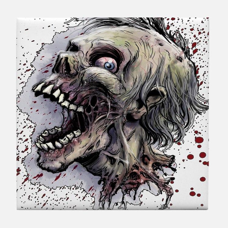 Zombie head Tile Coaster