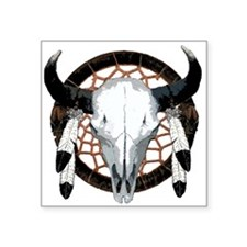 """Buffalo skull dream catcher Square Sticker 3"""" x 3"""""""