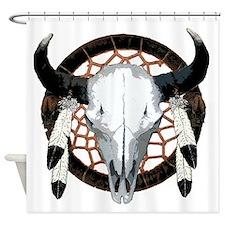 Buffalo skull dream catcher Shower Curtain