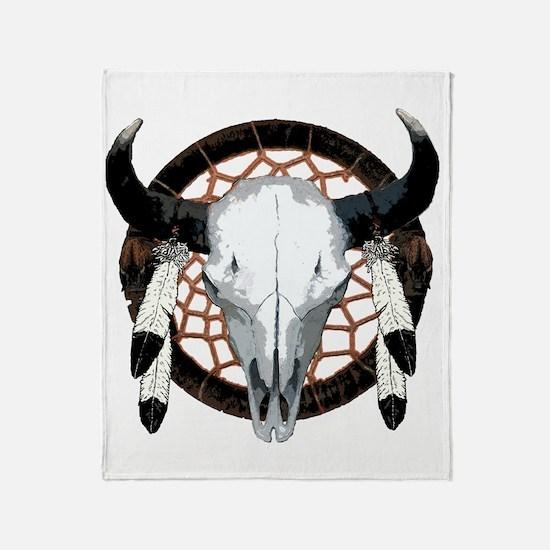 Buffalo skull dream catcher Throw Blanket