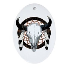 Buffalo skull dream catcher Ornament (Oval)