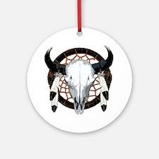 Buffalo skull dream catcher Ornament (Round)