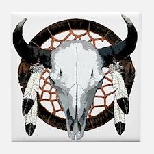 Buffalo skull dream catcher Tile Coaster