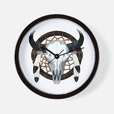 Buffalo skull dream catcher Wall Clock