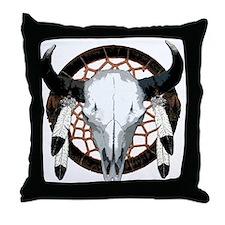 Buffalo skull dream catcher Throw Pillow