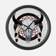 Buffalo skull dream catcher Large Wall Clock