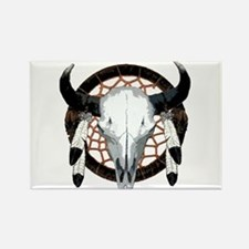 Buffalo skull dream catcher Rectangle Magnet