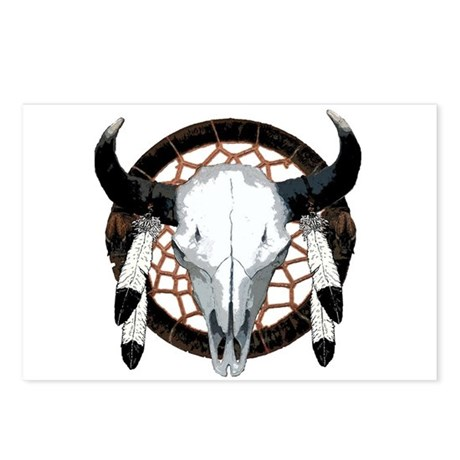 Buffalo skull dream catcher Postcards (Package of
