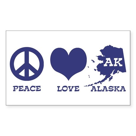 Peace Love Alaska Sticker (Rectangle)