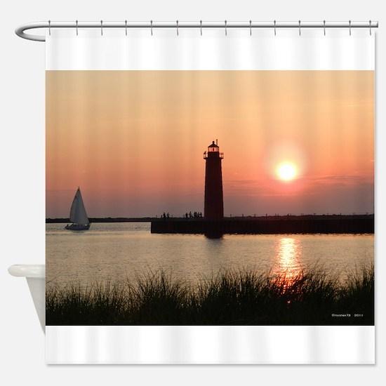Muskegon Lighthouse 1 Shower Curtain