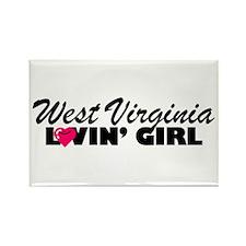 West Virginia Loving girl Rectangle Magnet