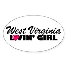 West Virginia Loving girl Oval Decal