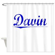 Davin, Blue, Aged Shower Curtain
