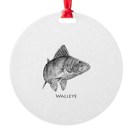 Walleye Line Art Round Ornament