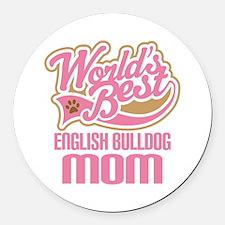 English Bulldog Mom Round Car Magnet