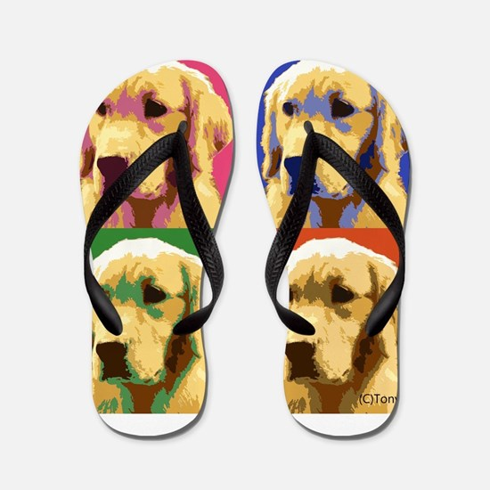 Golden Retriever Pop Art Flip Flops