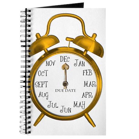 Due in December Gold Alarm Clock Maternity Journal