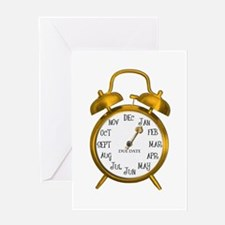 Due in January Gold Alarm Clock Maternity Greeting
