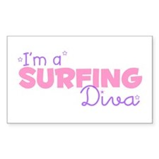 I'm a Surfing diva Rectangle Stickers
