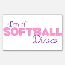 I'm a Softball diva Rectangle Decal