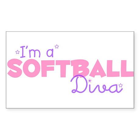 I'm a Softball diva Rectangle Sticker