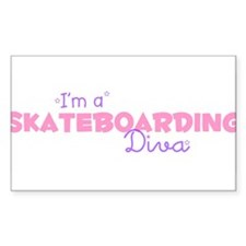 I'm a Skateboarding diva Rectangle Decal