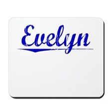 Evelyn, Blue, Aged Mousepad