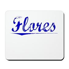 Flores, Blue, Aged Mousepad