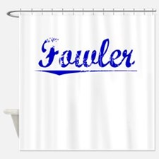 Fowler, Blue, Aged Shower Curtain
