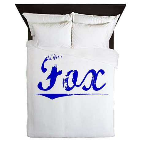 Fox, Blue, Aged Queen Duvet