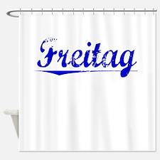 Freitag, Blue, Aged Shower Curtain