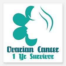 Ovarian Cancer 1 Year Survivor Square Car Magnet 3