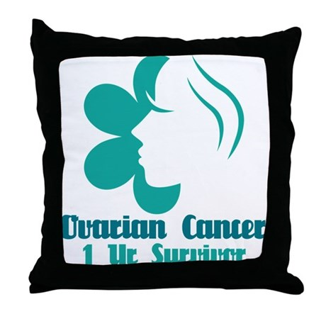 Ovarian Cancer 1 Year Survivor Throw Pillow