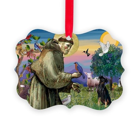 St. Francis & Min Pin Picture Ornament
