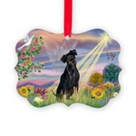 Cloud Angel / Miniature Pinsc Picture Ornament